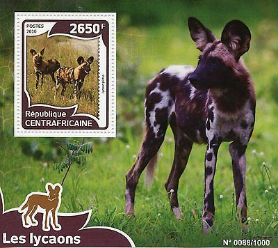 Central African Republic 2016 MNH Wild Dogs 1v S/S Wild Animals African Wild Dog