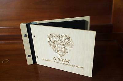 Guest book party wood guestbook wedding photo signing book modern A5 60 sheets