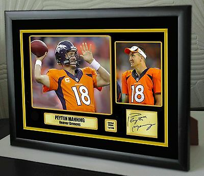 "Peyton Manning Denver Broncos Framed Canvas Portrait Signed ""Great Gift"""