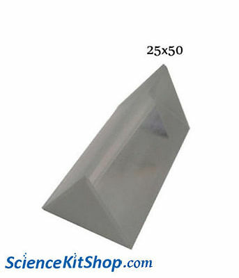 Glass Prism, Equilateral (Length 50 mm, Face 25mm) **PACK OF 2  PRISMS**