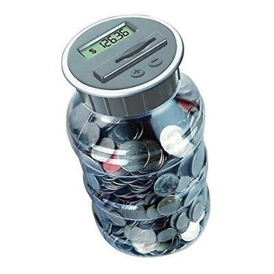 Digital Coin Bank Savings Jar by DE - Automatic Coin Counter Totals all U.S. New