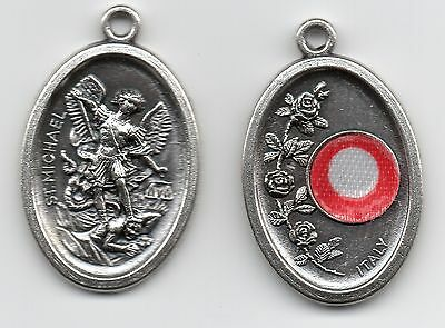 Saint Michael the Archangel Relic Medal from Italy Silver Tone not Sterling