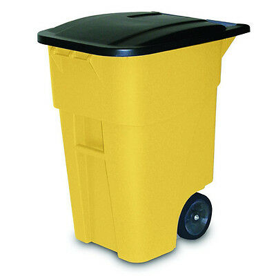 Rubbermaid 50-Gallon Plastic Rollout Container (Yellow) 9W27YEL NEW