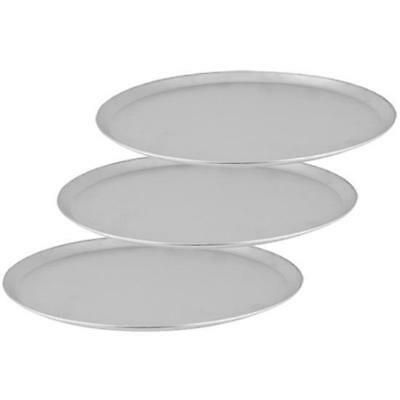 3x Pizza Tray / Plate with Tapered Edge, Aluminium, 250mm / 10 inch, Pizzas
