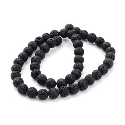 20 Strds Natural Volcanic Lava Rock Beads Wholesale Loose Stones Black Roudn 8mm