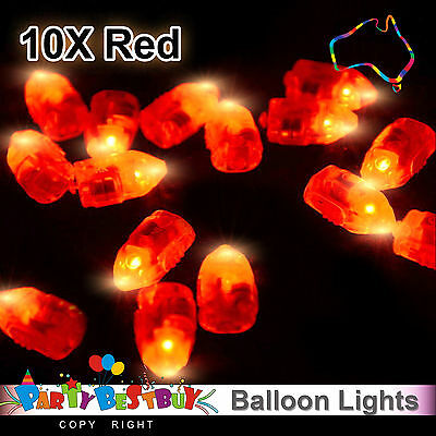 10X LED Balloon Lights Red Colour Paper Lantern Light  Lamp Glow Wedding Party