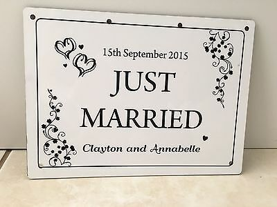 Personalised Wedding Car Decoration Door Sign Just Married plaque Harboard