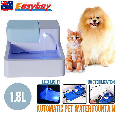 1.8L Automatic Pet Water Drinking Filter Fountain Bowl Dogs Cats Drinker LED/ UV