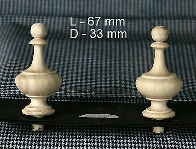 2 Wood FINIALS 67 mm for Antique Wall Clock / Barometer / Mirror / Furniture #10