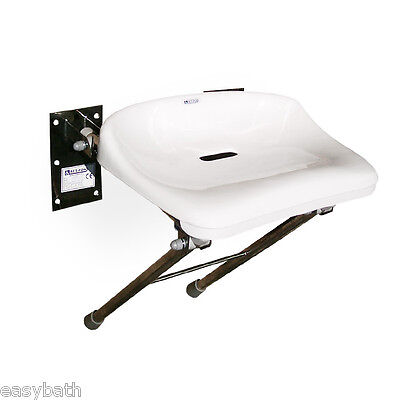 Stainless steel shower seat, wall fixed folding mobility aid, disabled bathroom