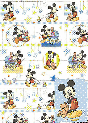 Disney Baby Mickey Mouse Gift Wrap Birthday Party 2 Sheets Tags Present Shower