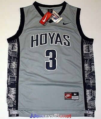 NCAA Throwback Basketball Jersey ALLEN IVERSON 3 Georgetown Hoyas Gray Men NWT