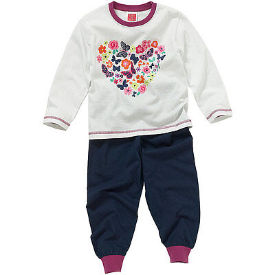 Cozy n Dozy Younger Girls Floral Heart Print Long Sleeve Cotton Pyjamas White