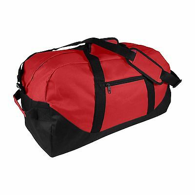 """DALIX 21"""" Duffle Bag Two-Toned Sports Gym Travel Bag in Red and Black"""