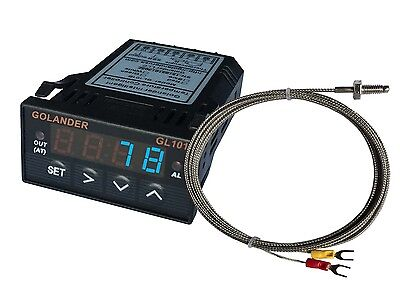 24V DC 1/32DIN Digital PID Temperature Controller, Blue with K thermocouple