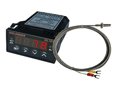 24V DC 1/32DIN Digital PID Temperature Controller, Red with K thermocouple