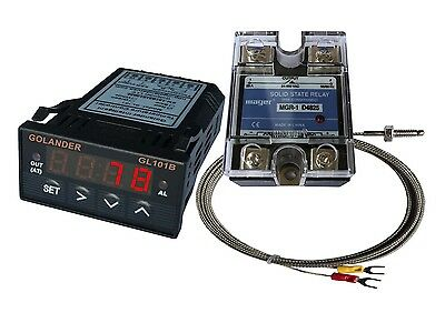 24V DC 1/32DIN PID Temperature Controller, Red+ 25A SSR + K thermocouple