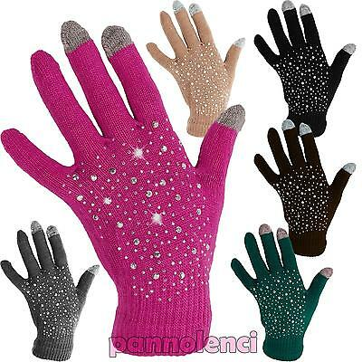 Gloves wool woman for touch screen capacitive sensors 3 dita studs idea Jz-81