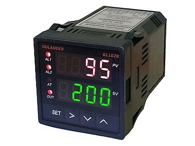 24V DC Dual Display Digital PID F/C Temperature Controller with 2 Alarm Relays