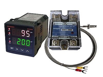 24V DC Digital PID F/C Temperature Controller + K Thermocouple + 25A SSR