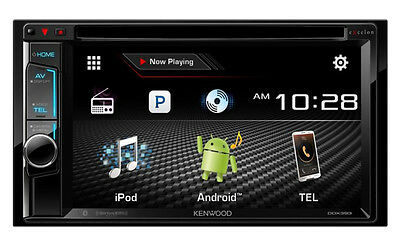 "Kenwood DDX393 6.2"" In Dash Double Din CD DVD Receiver w/ Built in Bluetooth B"