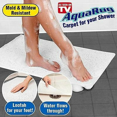 Anti Slip Loofah Shower Rug Bathroom Bath Mat Carpet Water Drains Non Slip