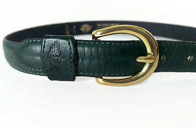 "Vintage Dockers Cowhide Leather Belt Green Small 24"" - 28"" Made In USA"