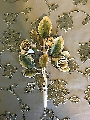 Vintage Shabby METAL Yellow ROSE WALL HOOK Flower Roses Cottage Chic