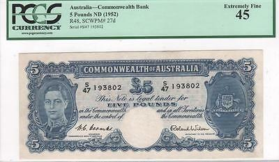 Australia, 5 Pounds, 1952, R48/P27d, Coombs-Wilson, PCGS Extremely Fine 45