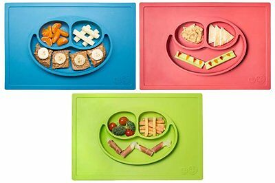 *NEW* ezpz Happy Mat - One-piece silicone placemat + plate Lime/Blue/Coral