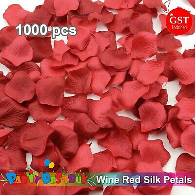 New 1000pcs Wine Red Silk Petals Flowers Rose Wedding Scatters Decoration Flower