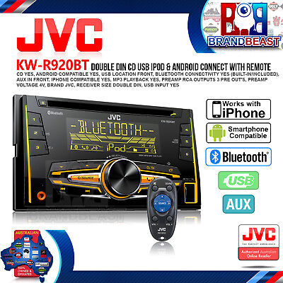 New Jvc Kw-r920bt Double-din Bluetooth Cd Usb Head Unit Pandora Iphone Android