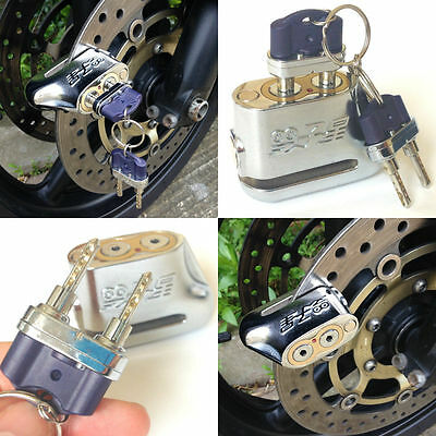 Silver Color Anti-theft Motorcycle Motorbike Scooter Disc Brake Lock 2 Keys E