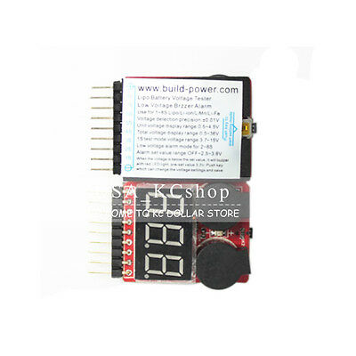 New 2in1 1S-8S Li-ion Lipo RC Battery Low Voltage Buzzer Alarm Indicator Tester