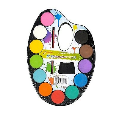 New Kids 12 Watercolor Paint Palette with Brush Kids Children Art Crafts Safe