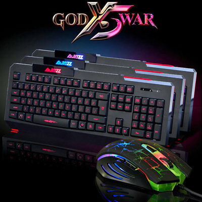 Couleurs LED Jeux Clavier Lumineux Filaire USB Gaming Wired Keyboard + souris