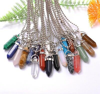 Natural Gemstones Hexagonal Pointed Reiki Chakra Healing Pendant Necklaces
