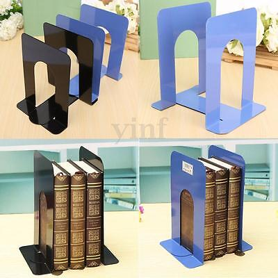 2X 6.7'' L-Shaped Bookend Anti-skid Solid Metal Shelf Office Book Case Holder