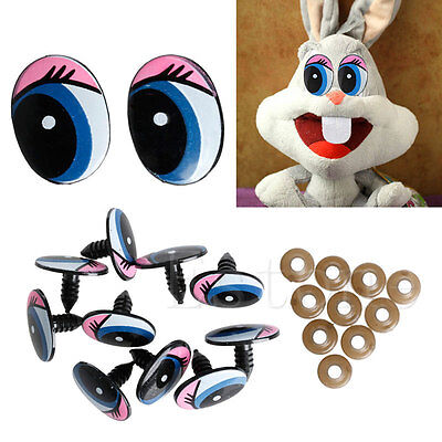 5 Pairs(10Pcs) 24 x18mm Oval Blue Safety Plastic Eyes Toy Puppets Dolls Eyes