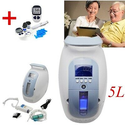 24 hrs Portable Oxygen Concentrator Generator Home Travel + Blood Glucose Meter