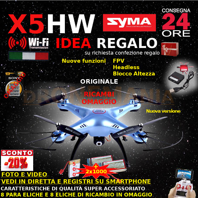 Drone SYMA X5SW FPV HEADLESS CAMERA HD real time WiFi 2 BATTERIE + RICAMBI 2020