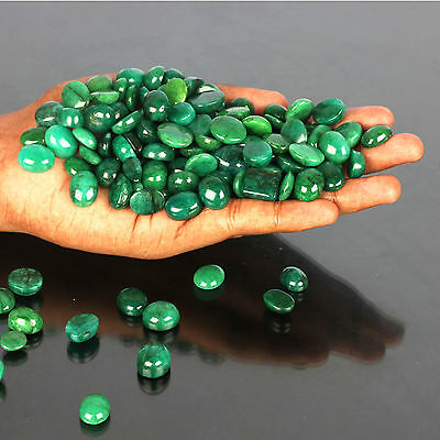 100.00 Cts GORGEOUS NATURAL CABOCHON TOP GREEN EMERALD GEMSTONES WHOLESALE LOT
