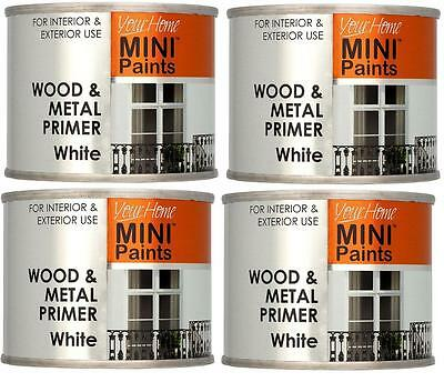4 X 175ml Wood & Metal Primer White Paint Tins For Interior Exterior Use