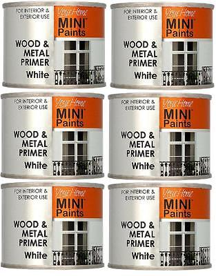 6 X 175ml Wood & Metal Primer White Paint Tins For Interior Exterior Use