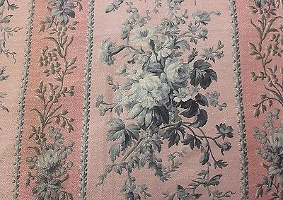2 Pieces Of Antique French Victorian Pink Floral Home Dec Fabric Textiles