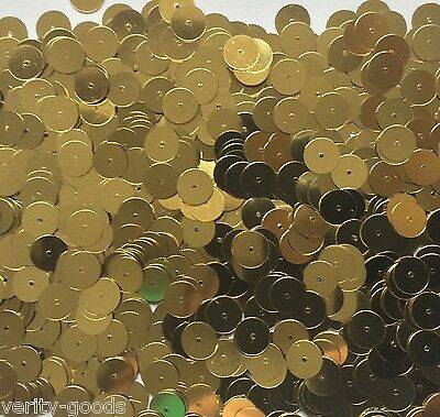 10mm GOLD METALLIC SEQUINS FLAT - 30G 1000+ PACK - CENTER HOLE - SEWING CRAFT