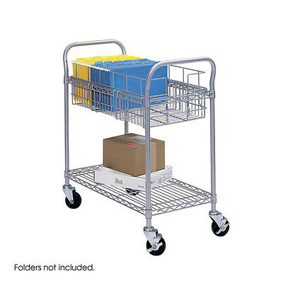 """Safco 18.75""""x26.75""""x38.5"""" 600 lb. Capacity Wire Mail Cart (Grey) 5235GR NEW"""