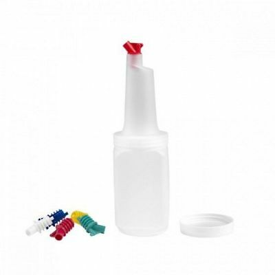 6x Juice Pourer / Bottle, Square Shape, Coloured Spouts, 1 Litre