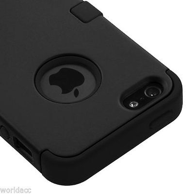 for Apple iPhone SE iPhone 5S - Hard&Soft Hybrid Case Cover Black Silicone Armor