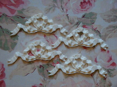 Shabby & Chic French Bow Ribbon Furniture Applique ~ 4 pcs.